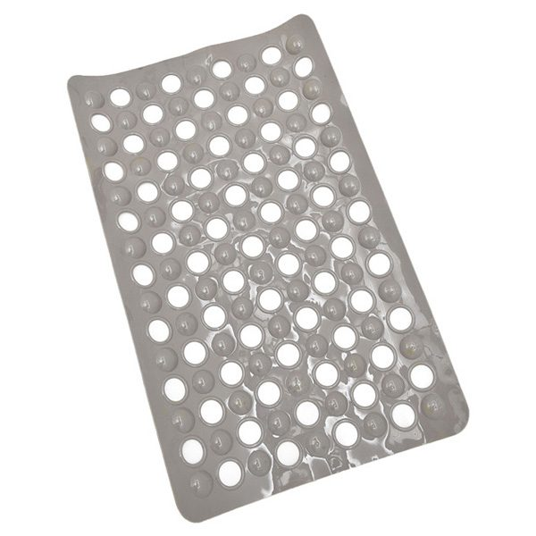 "Non Skid Bath Tub Mat with Holes Suction Cups 23.5""Lx 15""W Solid Colors Taupe"