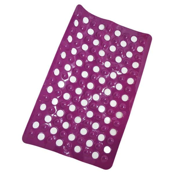 "Non Skid Bathroom Bathtub Mat with Holes 23.5""x 15"" Solid Colors Purple"
