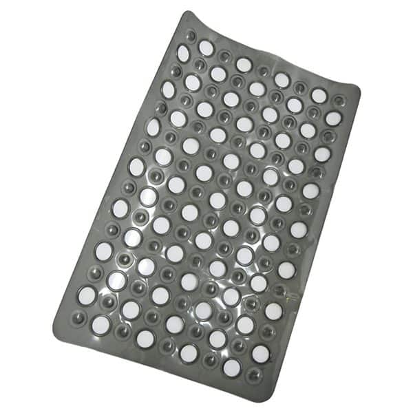 """Non Skid Bathroom Bathtub Mat with Holes 23.5""""x 15"""" Solid Colors Gray"""