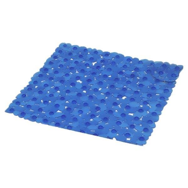"Non Skid Square Bathroom Shower Mat Pebbles 19""W X 20""L Navy Blue"