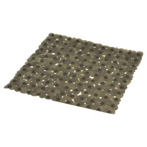 "Non Skid Square Bathroom Shower Mat Pebbles 19""W X 20""L Gray"