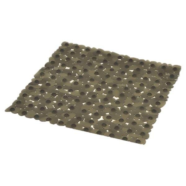 """Non Skid Square Bathroom Shower Mat Pebbles 19""""W X 20""""L Gray"""