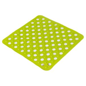 "Non Skid Square Bathroom Shower Mat with Holes 20""x20"" Green"