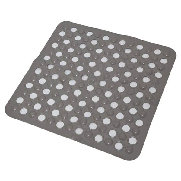 "Non-Skid Square Shower Mat with Holes 20""x20"" Solid and Clear Taupe"