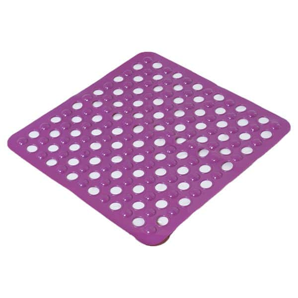 "Non Skid Square Bathroom Shower Mat with Holes 20""x20"" Purple"