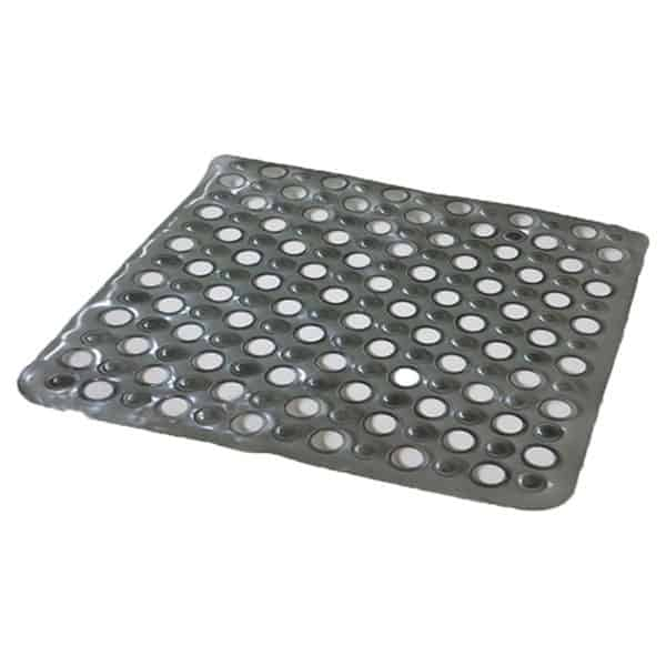 "Non Skid Square Bathroom Shower Mat with Holes 20""x20"" Gray"