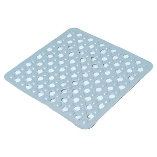 "Non-Skid Square Shower Mat with Holes 20""x20"" Solid and Clear Pearly Grey"