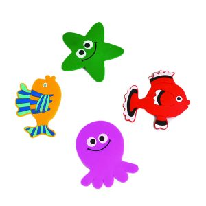 Baby Non Slippery Bathtub Treads Sea Animals Multicolored, Set of 4