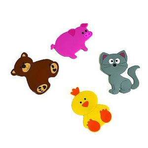 Baby Non Slippery Bathtub Treads Animals Multicolored, Set of 4