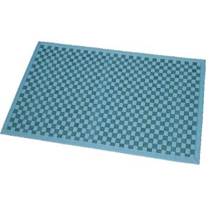 Bathroom Mat Bamboo Rug In Cross Twill Rug Checkerboard Turquoise Blue