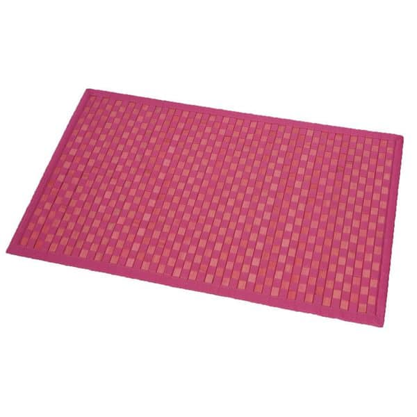 Bathroom Mat Bamboo Rug In Cross Twill Rug Checkerboard Pink