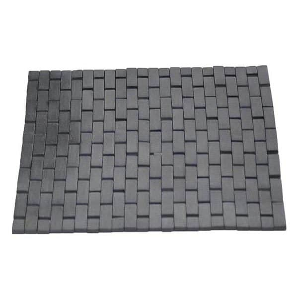 "Bathroom Bamboo Slats Roll-Up Foldable Shower Door Rug Anti-Slippery Dark Grey 18""x 18"""