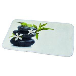 Printed Microfiber Mat Bath Rug Pebbles Ecobio Black 17 W x 29.5 L