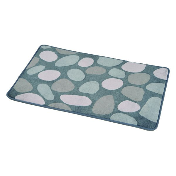 Printed Microfiber Bath Rug Spa Pebbles17w X 29.5l