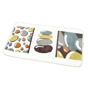 Printed Microfiber Bath Rug Belle Ile Grey 17w X 29.5l