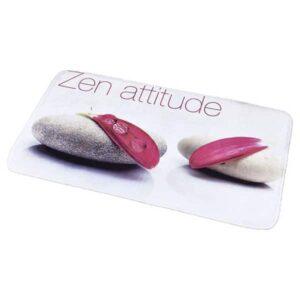 Printed Microfiber Mat Bath Rug ZEN ATTITUDE White 17 W x 29.5 L