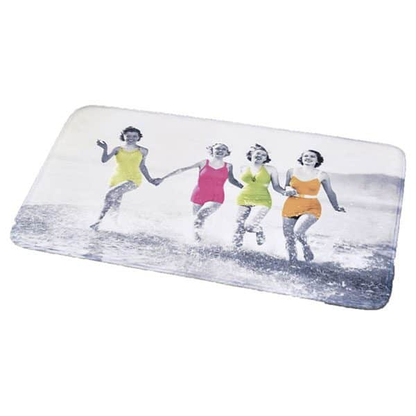 Printed Microfiber Mat Bath Rug WOMEN ON THE BEACH gray 17 W x 29.5 L