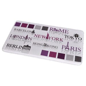 Printed Microfiber Mat Bath Rug WORLD CAPITALS Purple and Gray 17 W x 29.5 L