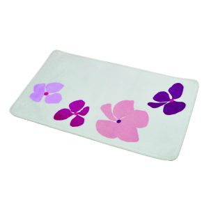 Printed Microfiber Bath Rug Softies Purple 17w X 29.5l