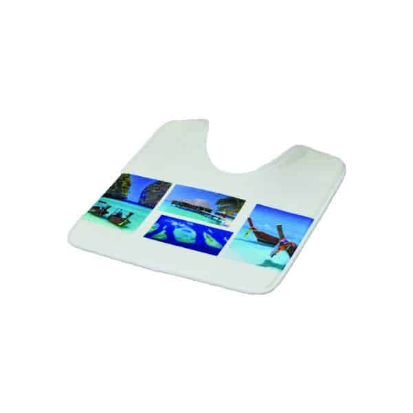 Pedestal Mat Microfiber Bathroom Toilet Contour Rug PARADISE Blue 17W X 20L