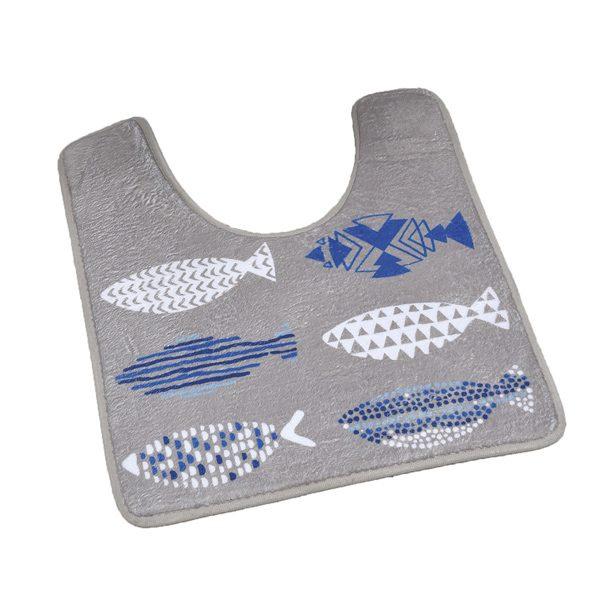 Printed Microfiber Bath Toilet Contour Rug Mat Nautic Blue