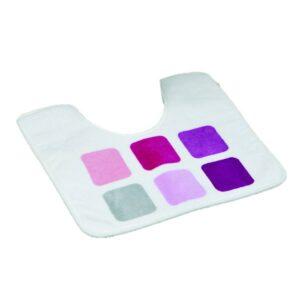 Pedestal Mat Microfiber Bathroom Toilet Contour Rug MOSAIC Purple 17W X 20L