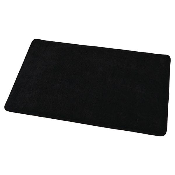 "Microfiber Non Skid Bath Mat Rug Rectangular 29.5""L x 17""W Black"