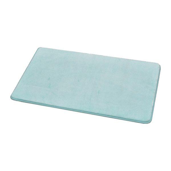"Microfiber Non Skid Bath Mat Rug Rectangular 29.5""L x 17""W Aqua Blue"