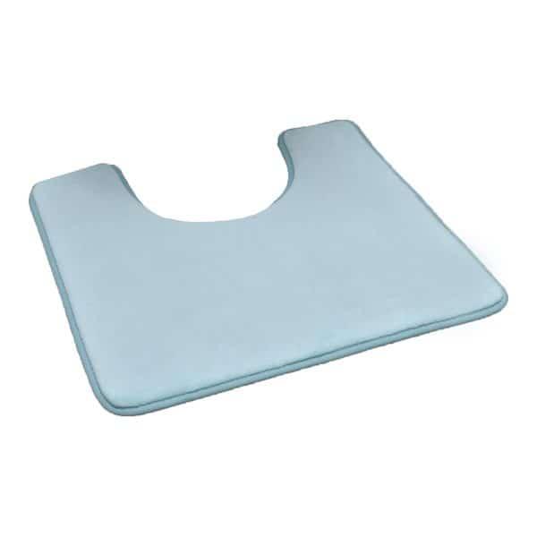 """Microfiber Toilet Contour Mat Rug Non Skid 20""""L X 20""""W Aqua Blue"""