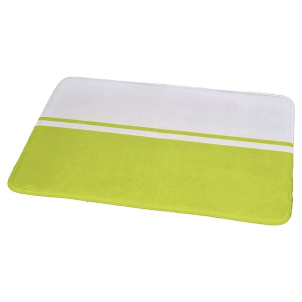 "Printed Microfiber Area Rug Mat Bathroom Rug Two-colored 35.4""L x 23.6""W White/Lime Green"