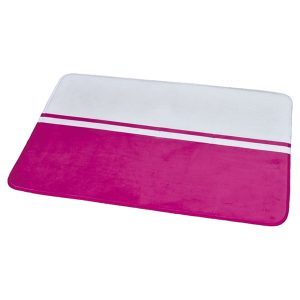 "Printed Microfiber Area Rug Mat Bathroom Rug Two-colored 35.4""L x 23.6""W White/Fuchsia"