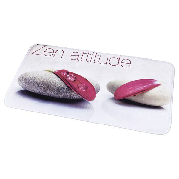 "Printed Microfiber Area Rug Mat Bathroom Rug ZEN Attitude White 35.4""L x 23.6""W"