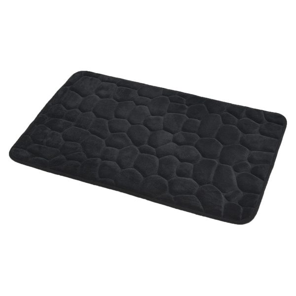 3D Cobble Stone Shaped Memory Foam Bath Mat Microfiber Non Slip Black