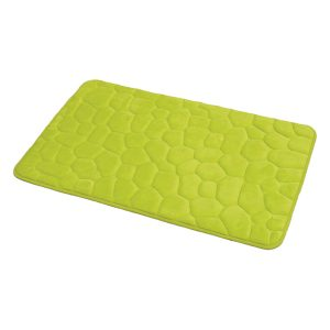 3D Cobble Stone Shaped Memory Foam Bath Mat Microfiber Non Slip Lime Green