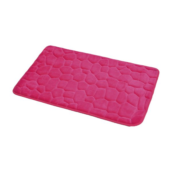 3D Cobble Stone Shaped Memory Foam Bath Mat Microfiber Non Slip Pink