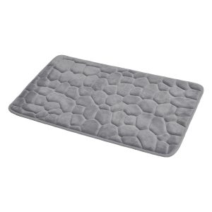 3D Cobble Stone Shaped Memory Foam Bath Mat Microfiber Non Slip Light Grey