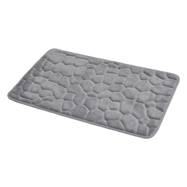 3D Cobble Stone Shaped Memory Foam Bath Mat Microfiber Non Slip Light Grey