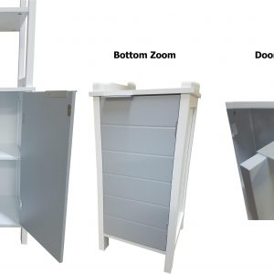 Bathroom Floor Cabinet Linen Tower with Shelves -Modern D- White and Grey