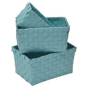 Checkered Woven Strap Storage Baskets Totes Set of 3 Turquoise Blue