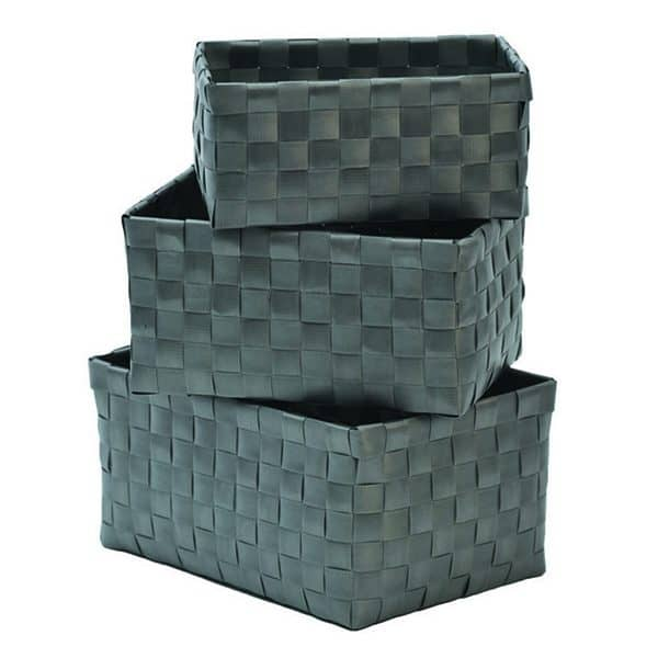 Checkered Woven Strap Storage Baskets Totes Set of 3 Gray