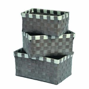 Checkered Woven Strap Storage Baskets Totes Set of 3 Taupe