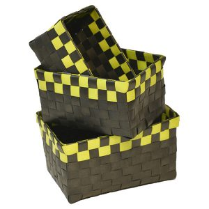 Checkered Woven Strap Storage Baskets Totes Set of 3 Black and Green
