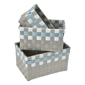 Checkered Woven Strap Storage Baskets Totes Set of 3 Taupe and Blue