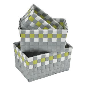 Checkered Woven Strap Storage Baskets Totes Set of 3 Gray and Green