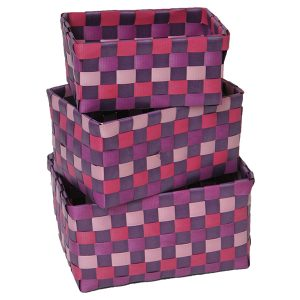 Checkered Woven Strap Storage Baskets Totes Set of 3 Purple