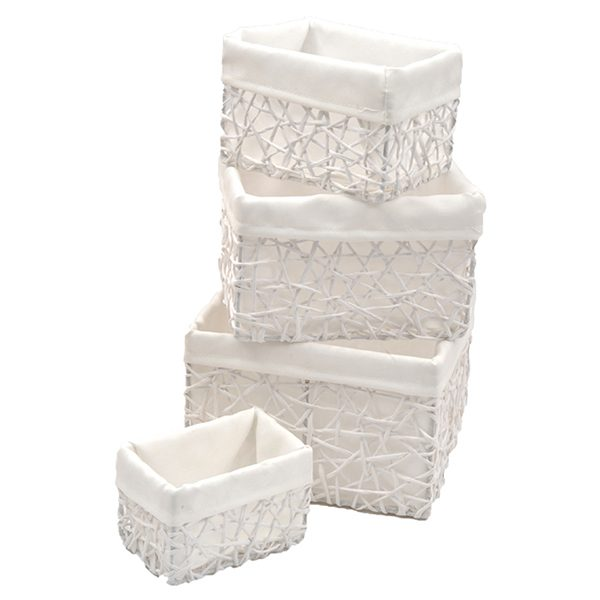 Paper Rope Storage Utilities Baskets Totes Set of 4 White