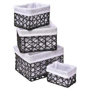 Paper Rope Storage Utilities Baskets Totes Set of 4 Black