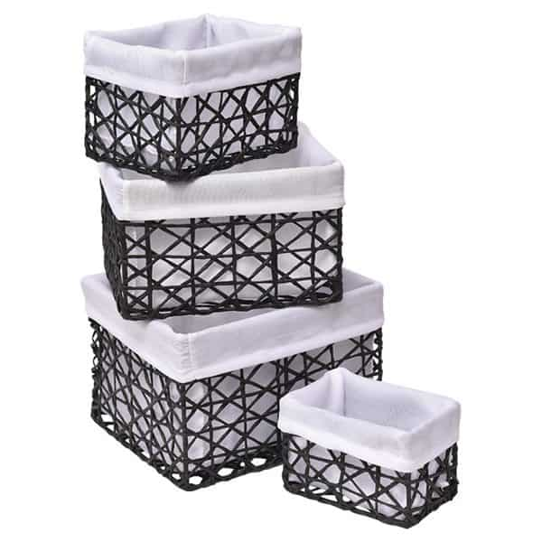 Superbe Paper Rope Storage Utilities Baskets Totes Set Of 4 Black
