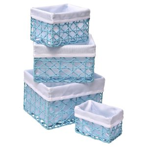 Paper Rope Storage Utilities Baskets Totes Set of 4 Turquoise Blue