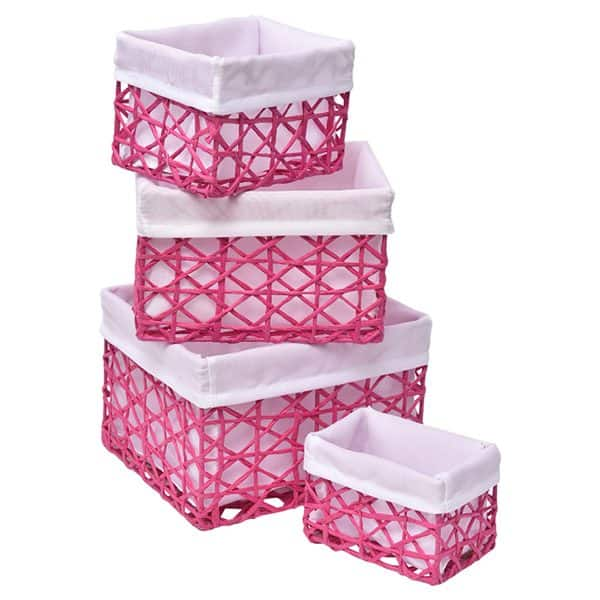 Paper Rope Storage Utilities Baskets Totes Set Of 4 Pink